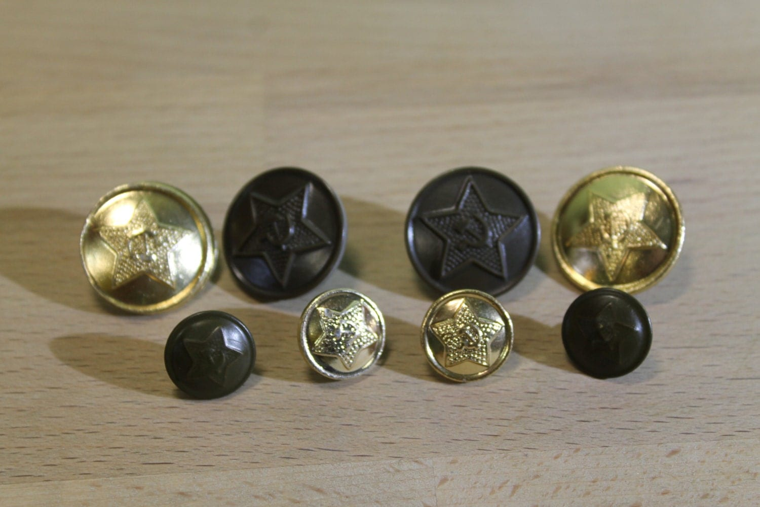 Set of 8 Vintage Soviet Army Buttons ... steampunk supplies ... button steampunk buy now online