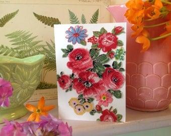 Any ocasion vintage fabric handmade card. Blank inside for your own message.