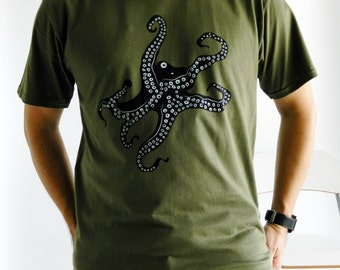 Octopus - Mens Tshirt - Military Green/Trendy/Featured design/Handmade/Logo Tee/Gift for him/Tight fit/Summer fashion/Hipster /Graphic Tee