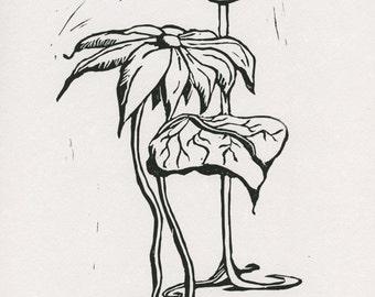 Flower Bulb: Linocut Print