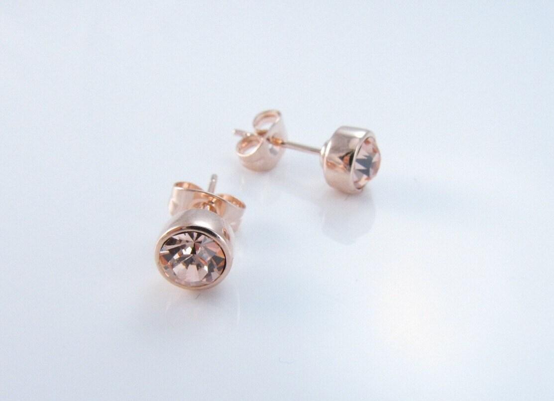 rose gold earrings swarovski crystal champagne stud earrings. Black Bedroom Furniture Sets. Home Design Ideas