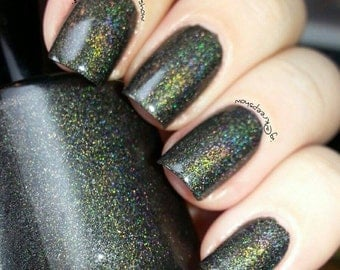 Black double holo Nail Polish - mini bottle  - 7ml