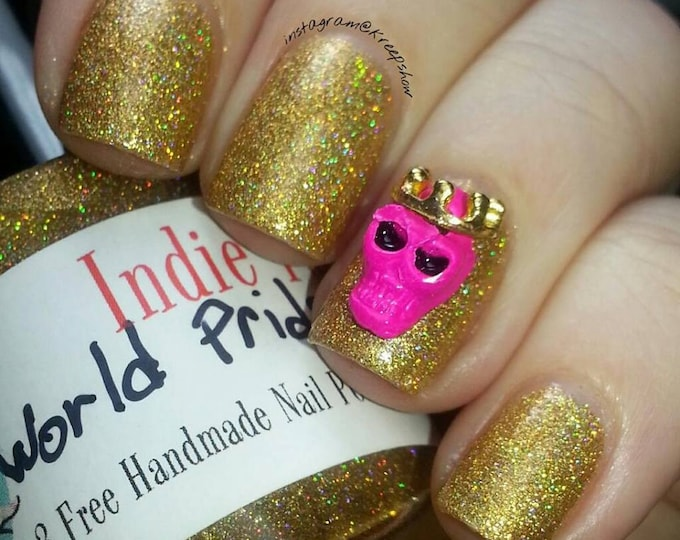skulls nail art with gold crowns - pink - Metal