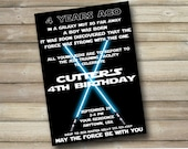 Luke Skywalker Birthday Party Invitation, Star Wars Birthday Party, Birthday Invitation, Kids Birthday Invitation