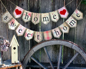 Custom small HOME SWEET HOME bunting banner flag...housewarming, decoration