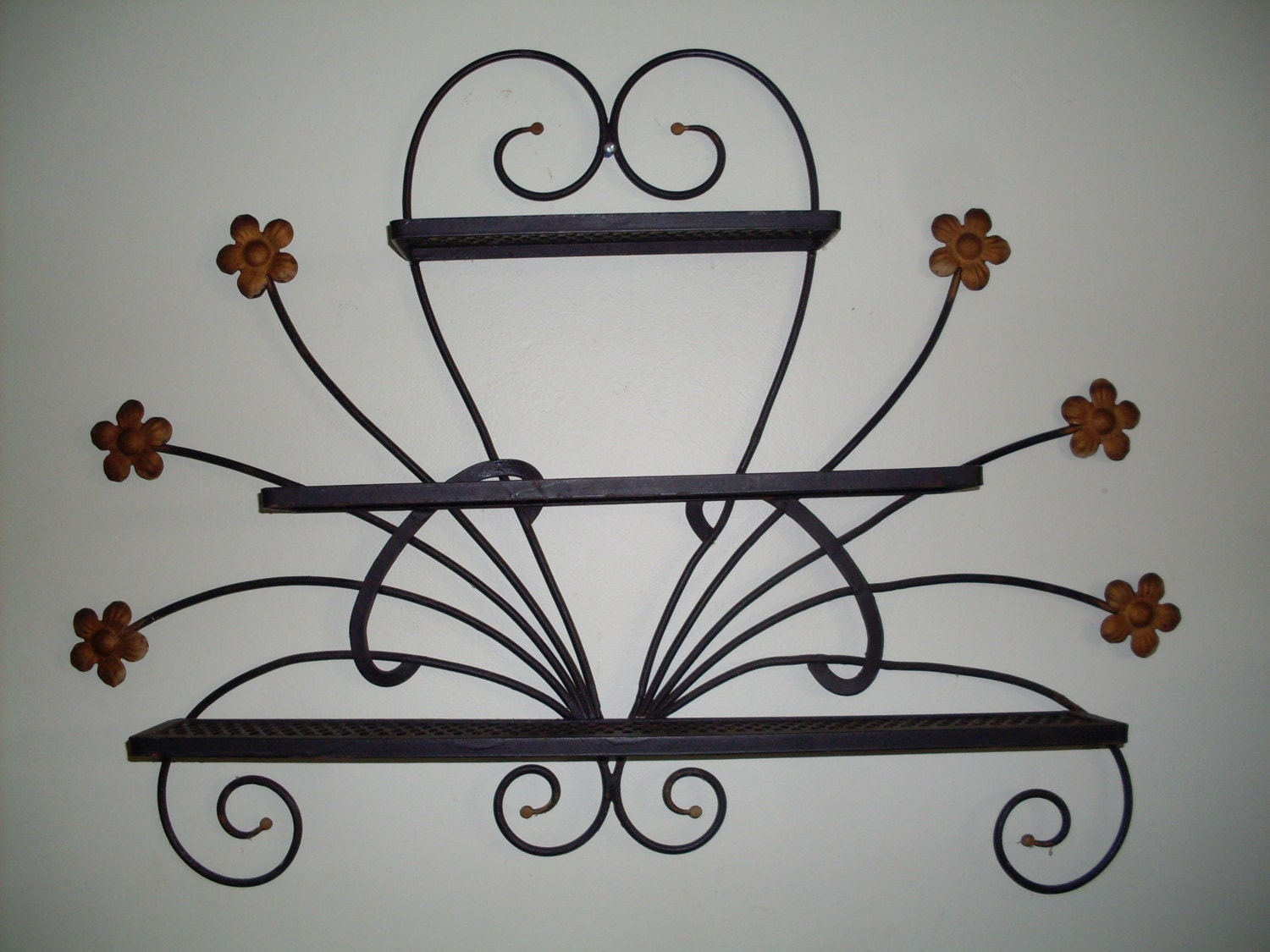 1960 39 s wrought iron shelf wall hanging shelf by connecticutfinds. Black Bedroom Furniture Sets. Home Design Ideas