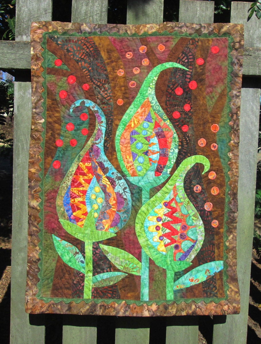 original batik applique and patchwork quilted wall art by