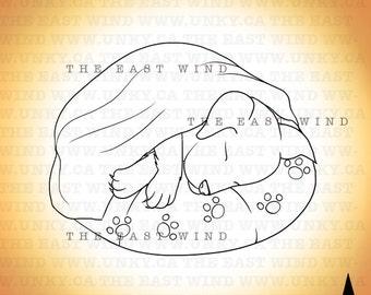 Digital Stamp - Sleeping Puppy - 300dpi Jpeg+Png files - 2014_0003