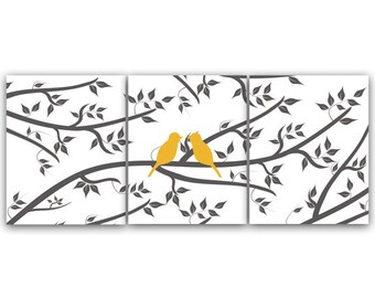 Home Decor Art INSTANT DOWNLOAD Love Bird Art Bathroom Wall Art Bedroom Decor Set of 3 Art Print - HOME73