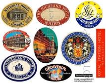 9 Large LUGGAGE LABELS (art only), Vintage British & United Kingdom Travel Luggage Labels, Printable Digital Instant Download 013