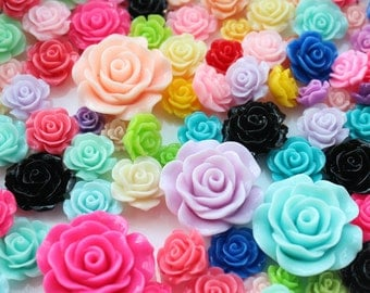 50pcs mixed sizes,mixed colors 10mm-30mm Resin Flowers Bloom Roses Cabochons flatback decoden kit