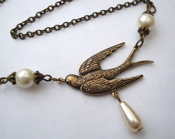 Bird necklace swallow and pearls brass charm antique bronze vintage inspired style
