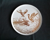Vintage Round Aluminum Duck Tray 70s Seventies Flying Bird Metal Tray For All Members Team