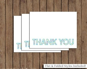 Sprinkle Thank You Cards - PRINTABLE - Digital - Baby - Includes Flat and Folded Note Cards - Blue - INSTANT DOWNLOAD