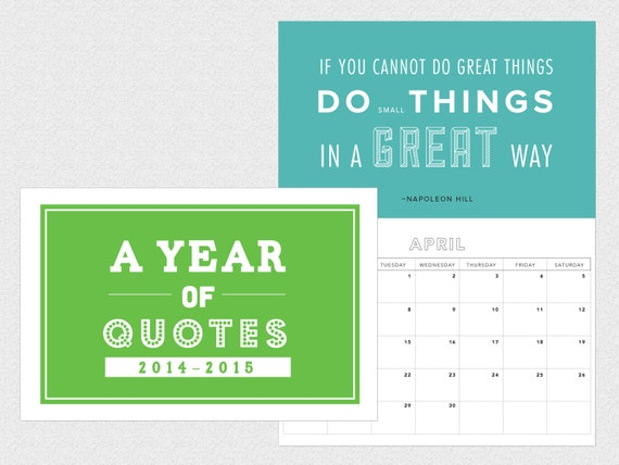 Calendar Inspirational 2016 : Inspirational quotes typography calendar by drawzilla