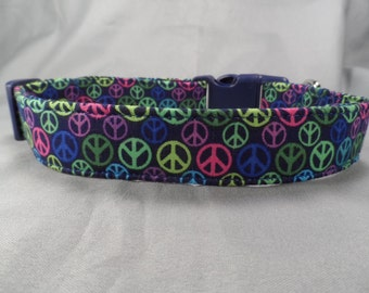 Little Peace Signs on Blue Peace Dog Collar