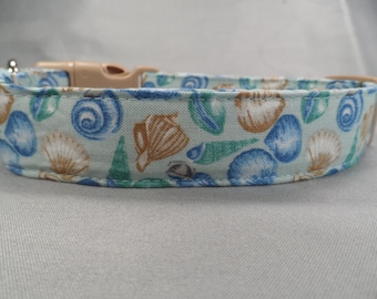 Seashells on Blue Beach Dog Collar