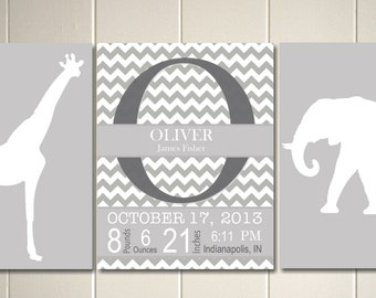 Grey white nursery art, baby boy nursery, safari nursery, elephant nursery, baby monogram and birth details, Set of 3