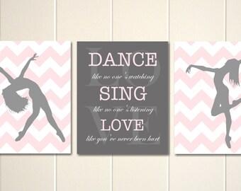Dance art, girls wall art, dance like no one's watching, girls room art, teen girl art,  dancer silhouette, girls art, Set of 3 posters