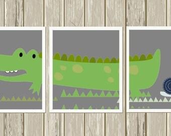 Baby boy nursery, crocodile nursery art, alligator nursery art, toddler boy wall art, playroom decor, custom colors, set of 3 prints