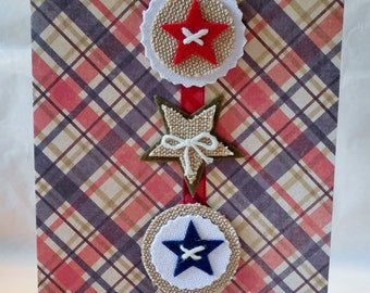 Red, White and Blue Plaid with Felt Stars