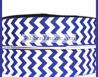 "5 yds 1.5"" Royal Blue and White Chevron Striped Grosgrain Ribbon"