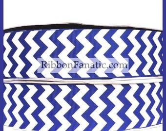 "5 yds 1.5"" Royal Blue and White Chevron Striped Grosgrain Ribbon"