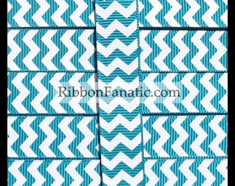 """5 yds 5/8"""" Teal and White Chevron Striped Grosgrain Ribbon"""