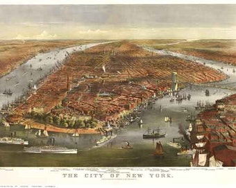 New York City - 1870 Bird's Eye View by Currier & Ives - Reprint