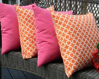 """Set of 4 Pillow Covers - 20"""" Indoor / Outdoor Mandarin Orange and White Hockley Pattern and Solid Pink Decorative Pillow Covers"""
