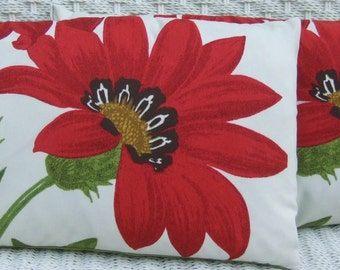 Set of 2 - Indoor / Outdoor Lumbar Rectangle Pillows - Red Poppy Flower Pottery Barn Fabric