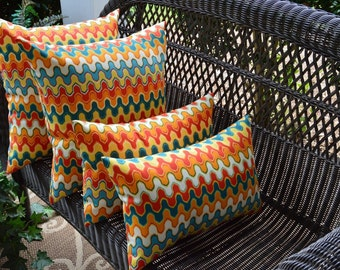 """Set of 4 ~ 17"""" Square & Rectangle Geometric Flame Stitch Red Orange Teal Indoor / Outdoor Pillows"""