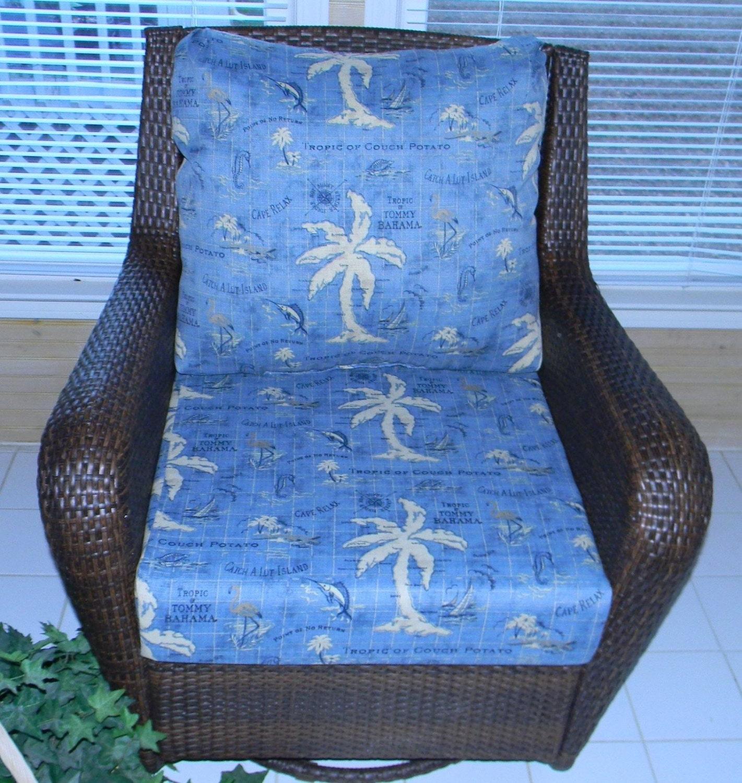 Indoor Outdoor Tommy Bahama Blue Nautical Cushion For Deep