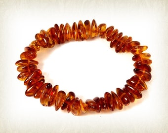 Exclusive Baltic Amber Bracelet Honey Mixed Beads Stretch