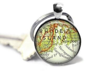Newport map key ring vintage atlas Newport Rhode Island keychain Narragansett Bay.