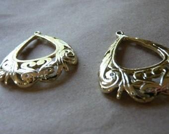 Vintage Brass Ornate Pendants