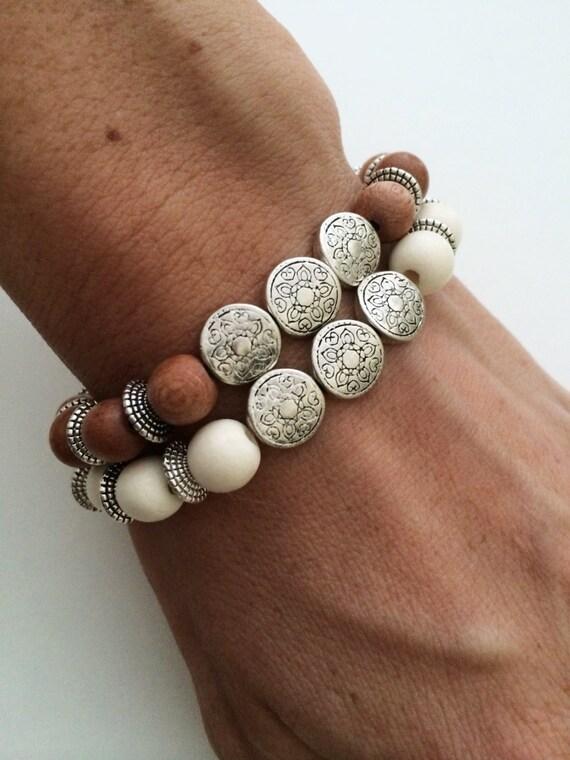 Items Similar To Silver Strings Wood Bracelet
