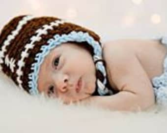 Crochet FOOTBALL Hat w/Braids Photo Props Baby Shower Gift Preemie to Toddler bringing home baby hat, baby's 1st hat, baby boy, baby girl