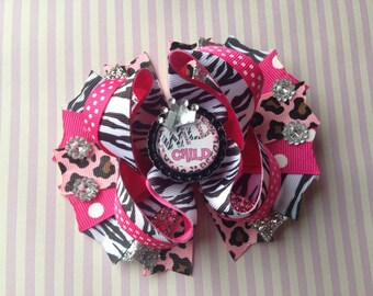 Wild Child, Leopard and Zebra print Hair Bow