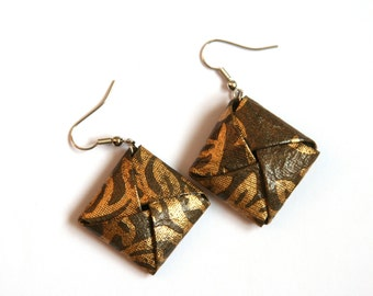 Dark Green and Gold Origami Square Earrings - Paper Earrings