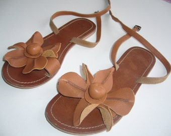 Leather sandals tan/floral sandals genuinine leather/flat sandals leather