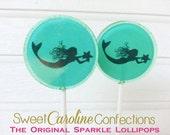 Mermaid Lollipops, Aqua Blue Lollipops, Mermaid Party, Candy Lollipops, Candy, Sparkle Lollipops, Sweet Caroline Confections -Set of Six