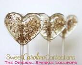 Gold and Brown Wedding Favor, Sparkle Lollipops, Party Favors, Brown and Gold, Candy, Lollipops, Sweet Caroline Confections-Set of Six