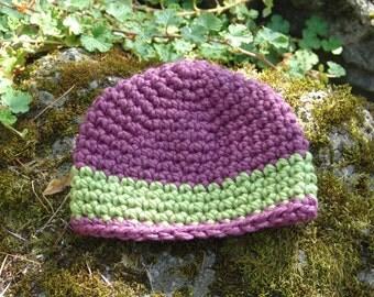 Handmade Stylish Wool Blend Crochet Chunky Beanie Hat in Purple and Green