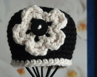 Crochet Chunky Beanie Hat in Black with White trim and White Flower with Button Center