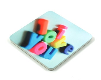Fridge Magnet, I Love You Fridge Magnet, Photo Magnet, Plastic, Square, Handmade