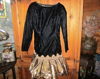 Vtg. Jessica McClintock Dress Velvet/Gold Size 8