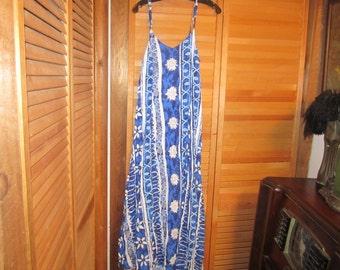 Vtg 80'S Hawaiian Print Full Length Dress Size Small