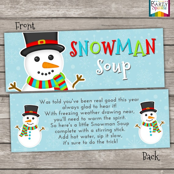 INSTANT DOWNLOAD - Snowman Soup Treat Bag Toppers Holiday Favor Labels ...