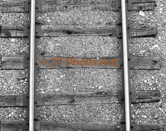 Black and White Photograph of Railroad Tracks, 8x12 fine art print